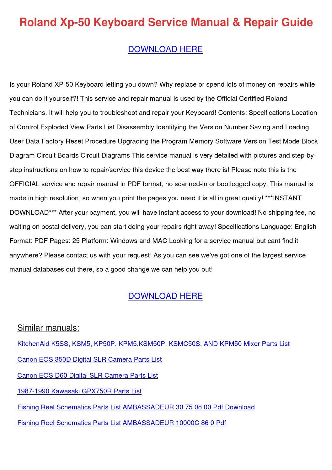 Roland Xp 50 Keyboard Service Manual Repair G by CerysBriley ...