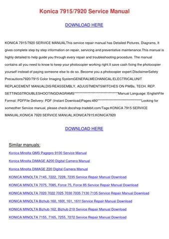 Konica 79157920 Service Manual by BarbaraAndre - issuu
