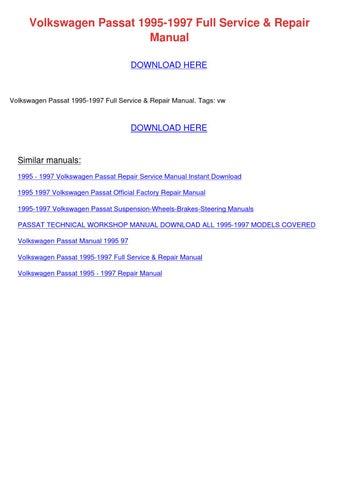 volkswagen passat 1995 1997 repair manual