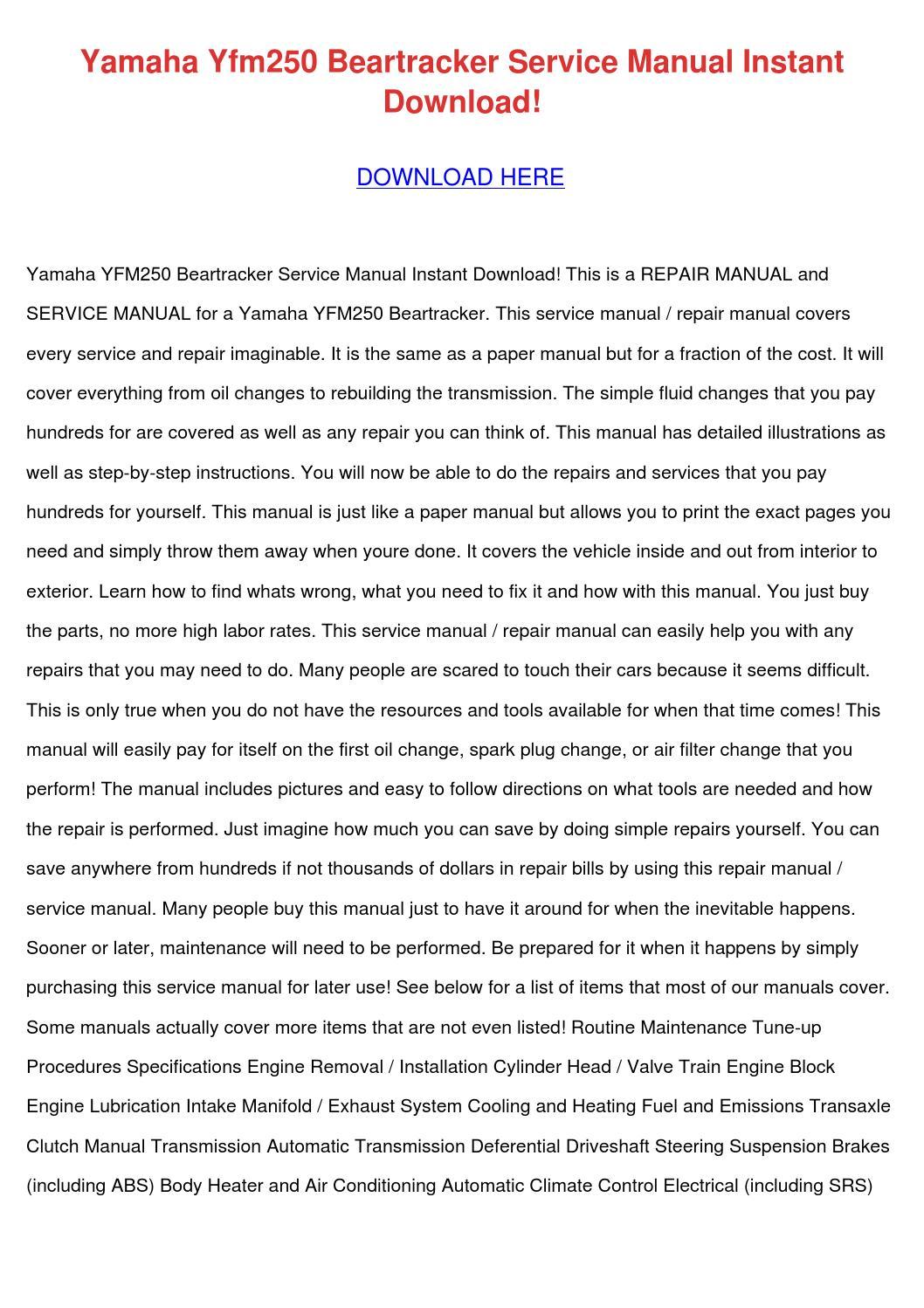 Yamaha Yfm250 Beartracker Service Manual Inst by TerrenceStevens ...