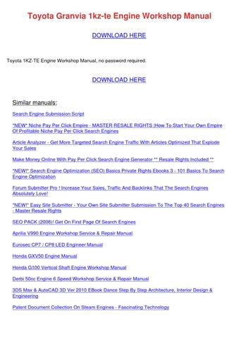 toyota granvia 1kz te engine workshop manual by melindamitchell issuu rh issuu com Toyota Camry Repair Manual Toyota Engine Diagram