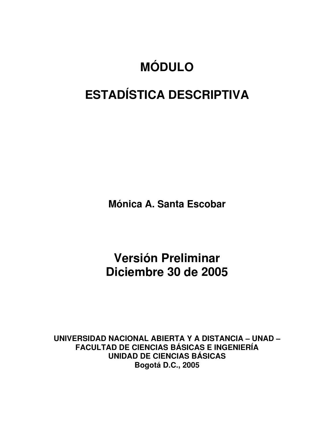Modulo de estadistica descriptiva unad by david pinilla - issuu