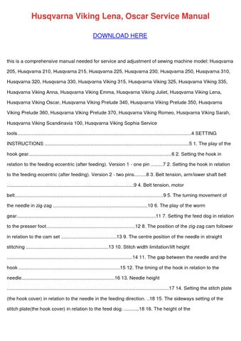 Husqvarna Viking Lena Oscar Service Manual By KendrickJudd