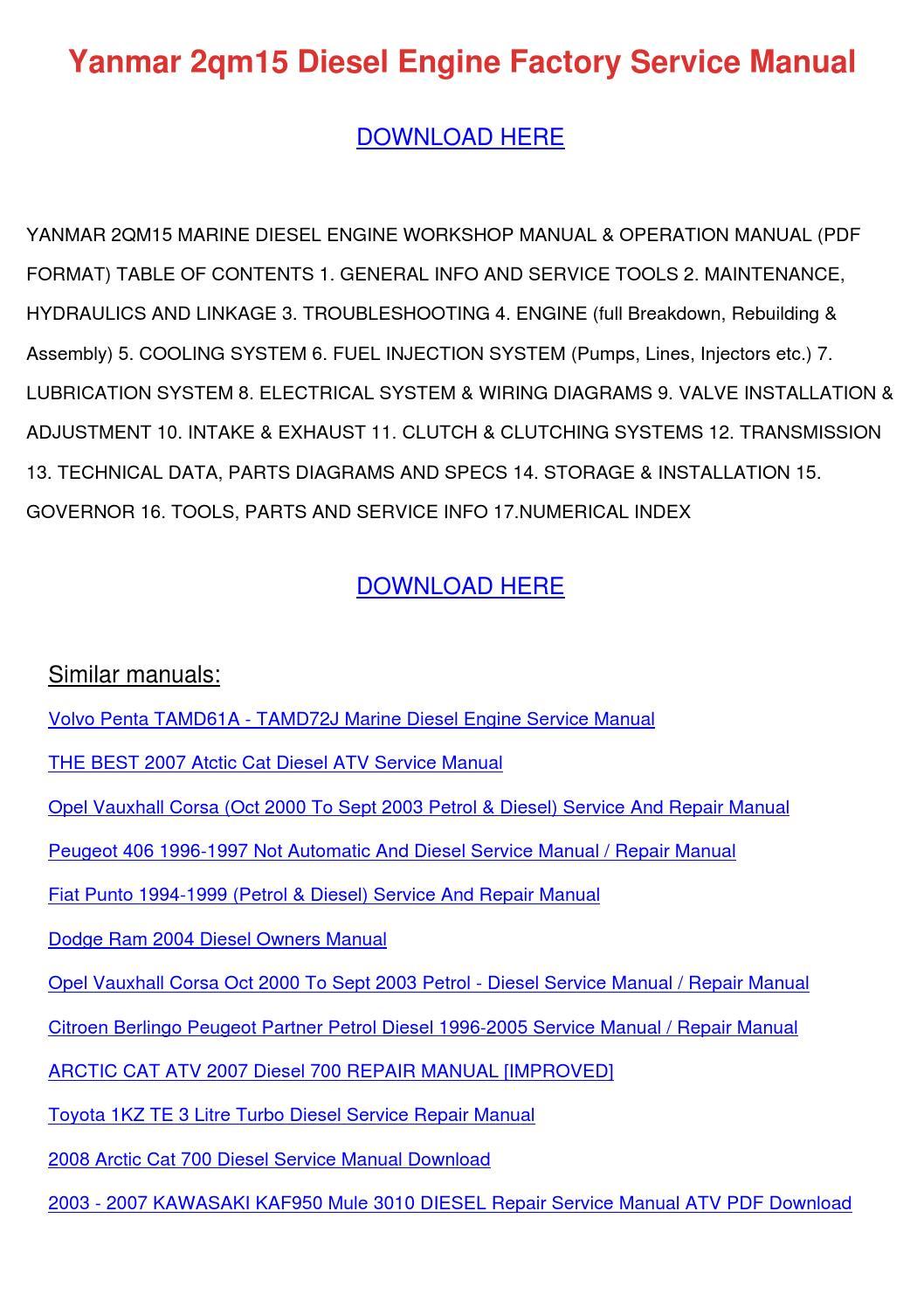 Yanmar 2qm15 Diesel Engine Factory Service Ma by