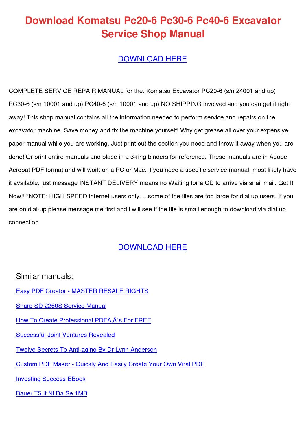 Download Komatsu Pc20 6 Pc30 6 Pc40 6 Excavat by MelindaMitchell ...