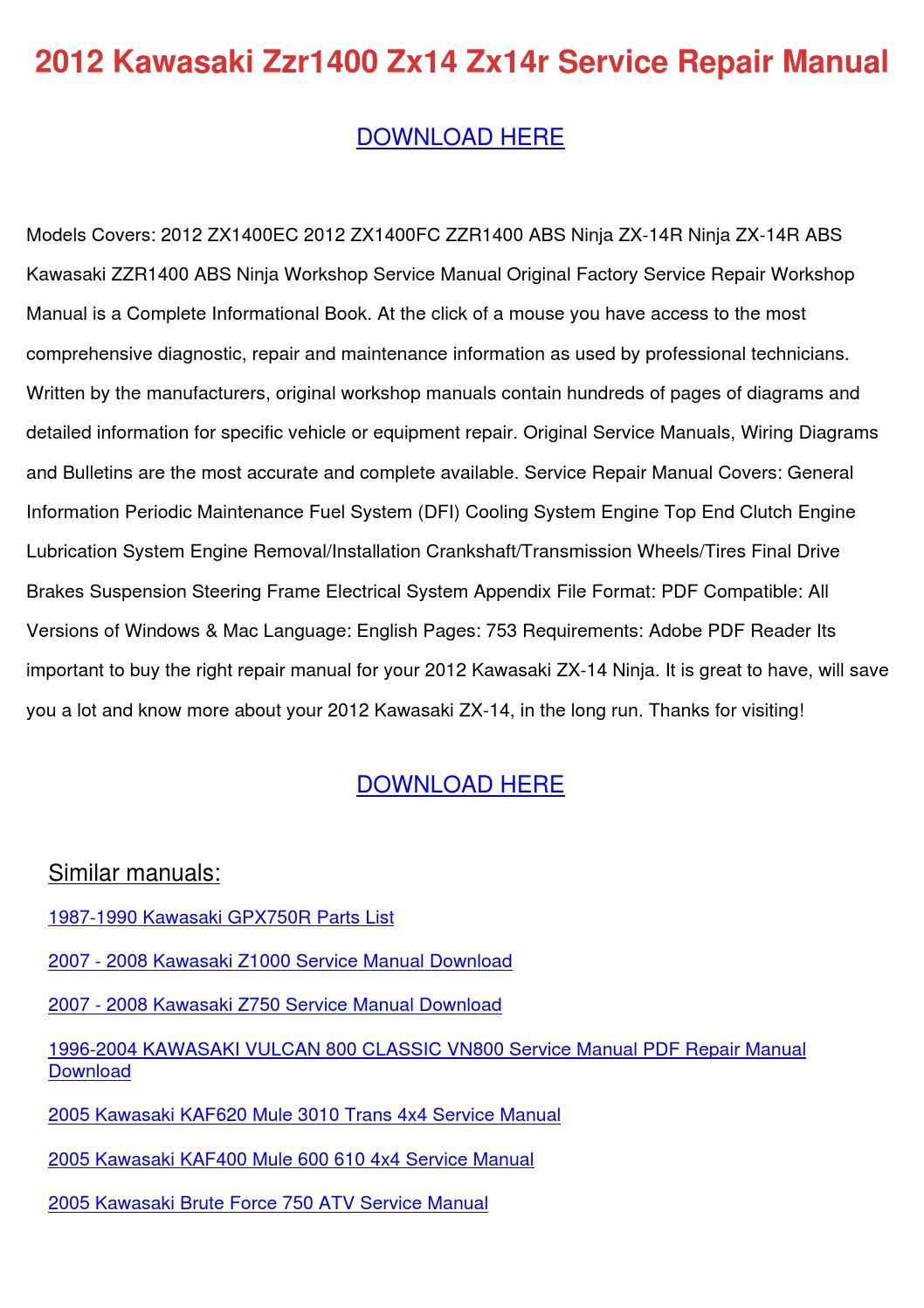 2012 Kawasaki Zzr1400 Zx14 Zx14r Service Repa By border=