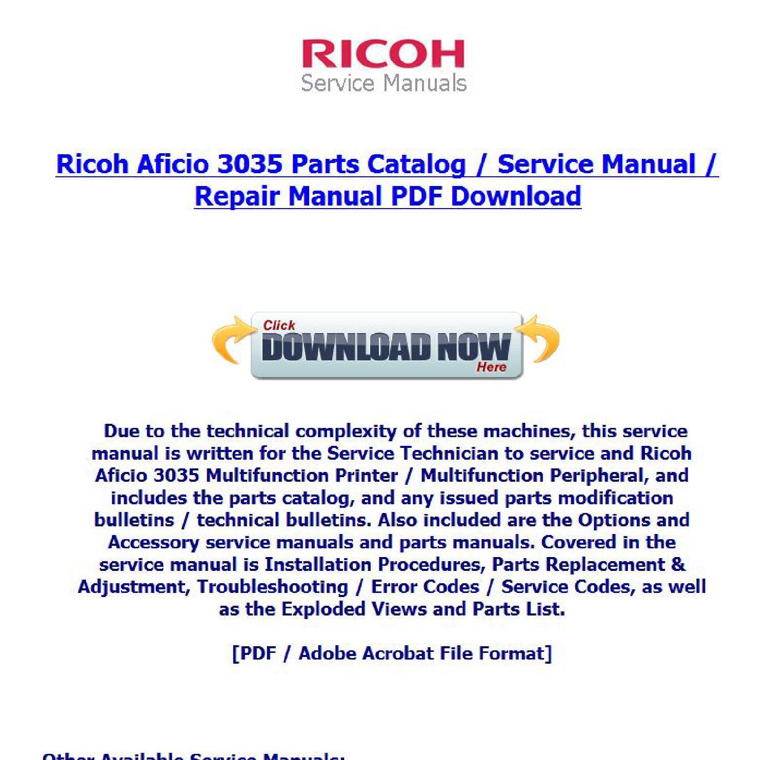 Ricoh Aficio 3035 Parts Catalog Repair Service Manual Download By Sony Vaio Diagram Tsg The Guys Issuu