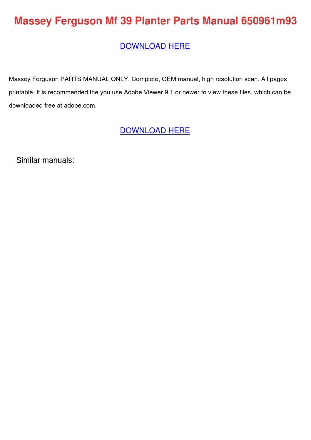Massey Ferguson Mf 39 Planter Parts Manual 65 by GilbertFisher - issuu
