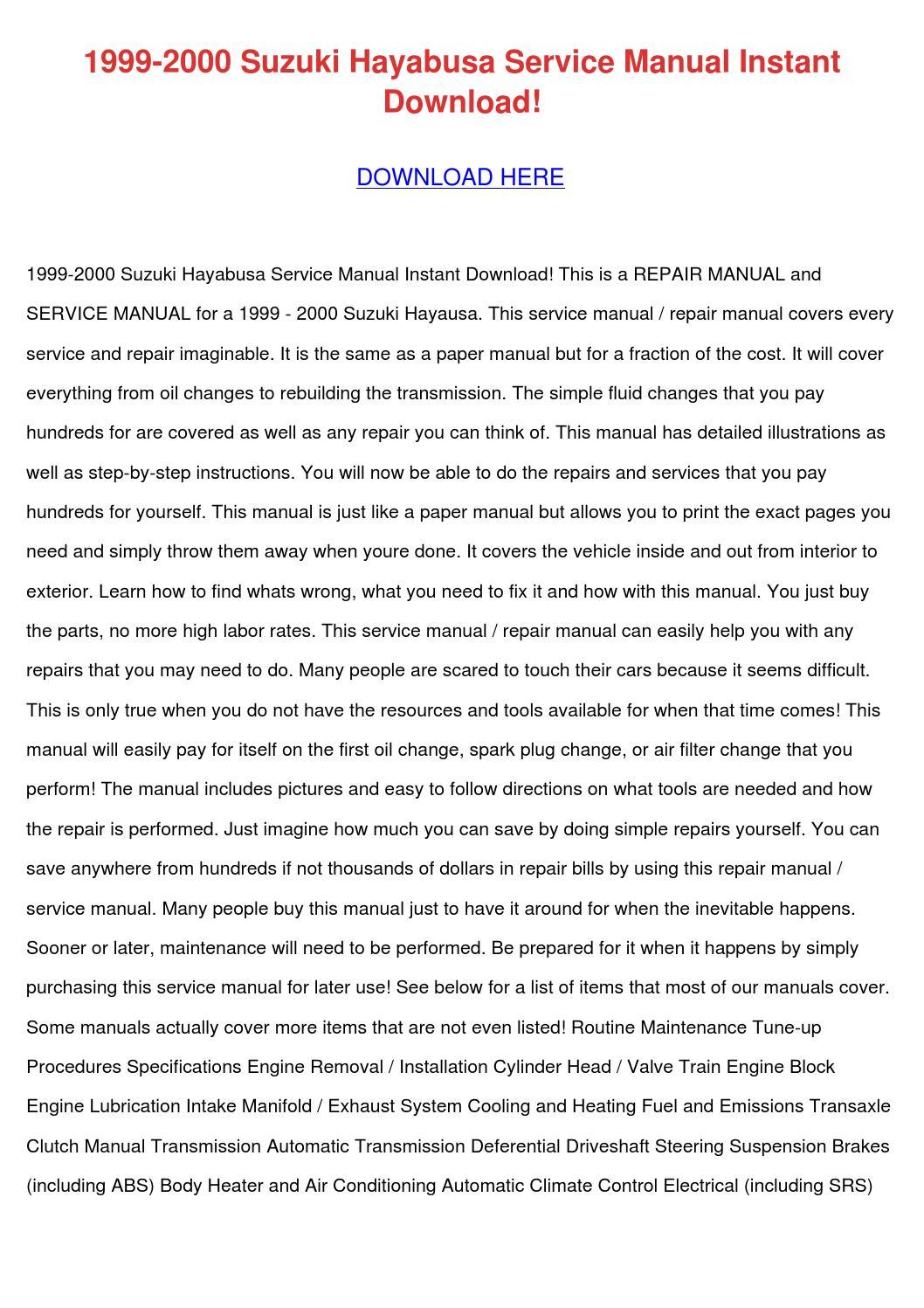 1999 2000 Suzuki Hayabusa Service Manual Inst by AngelicaWoodward - issuu