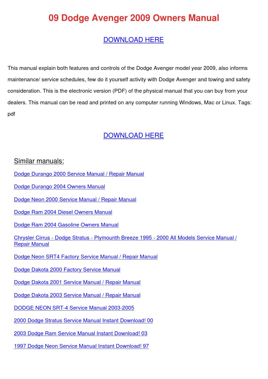 09 Dodge Avenger 2009 Owners Manual by AngelicaWoodward - issuu