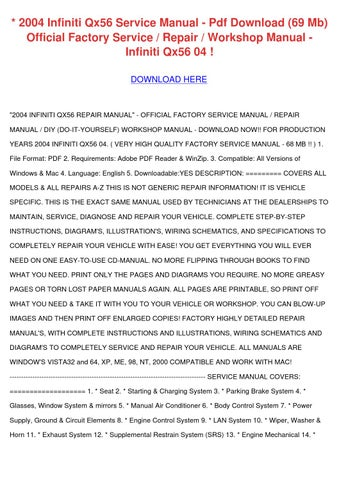 2004 Infiniti Qx56 Service Manual Pdf Downloa by AngelicaWoodward ...