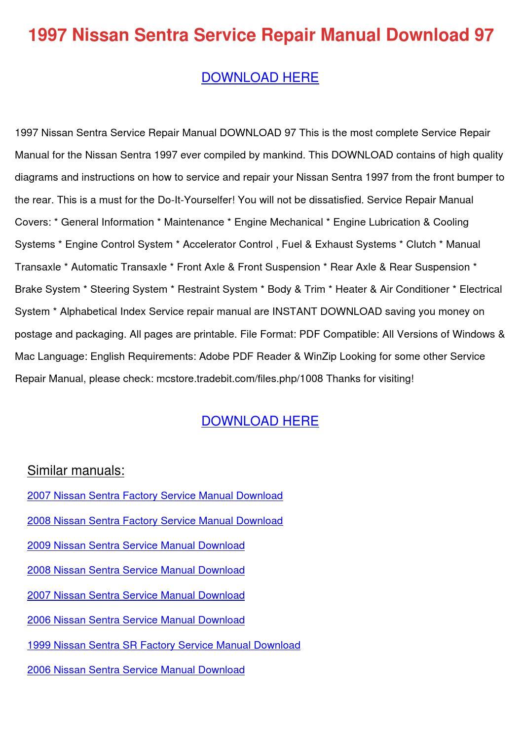2007 nissan sentra repair manual