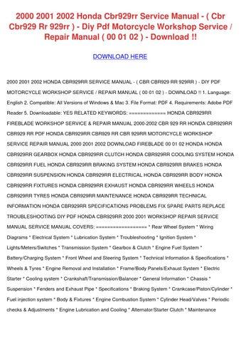 Sensational 2000 2001 2002 Honda Cbr929Rr Service Manual By Staciasiler Issuu Wiring Cloud Hisonuggs Outletorg