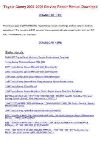 Toyota Camry 2007 2009 Service Repair Manual by StaciaSiler - issuu