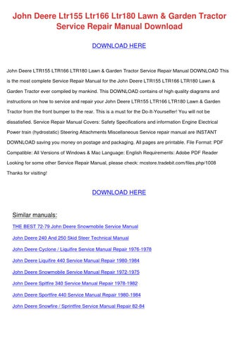 John Deere Ltr155 Ltr166 Ltr180 Lawn Garden T by StaciaSiler - issuu