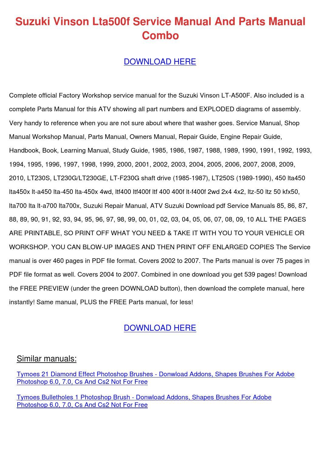 Suzuki Vinson Lta500f Service Manual And Part By
