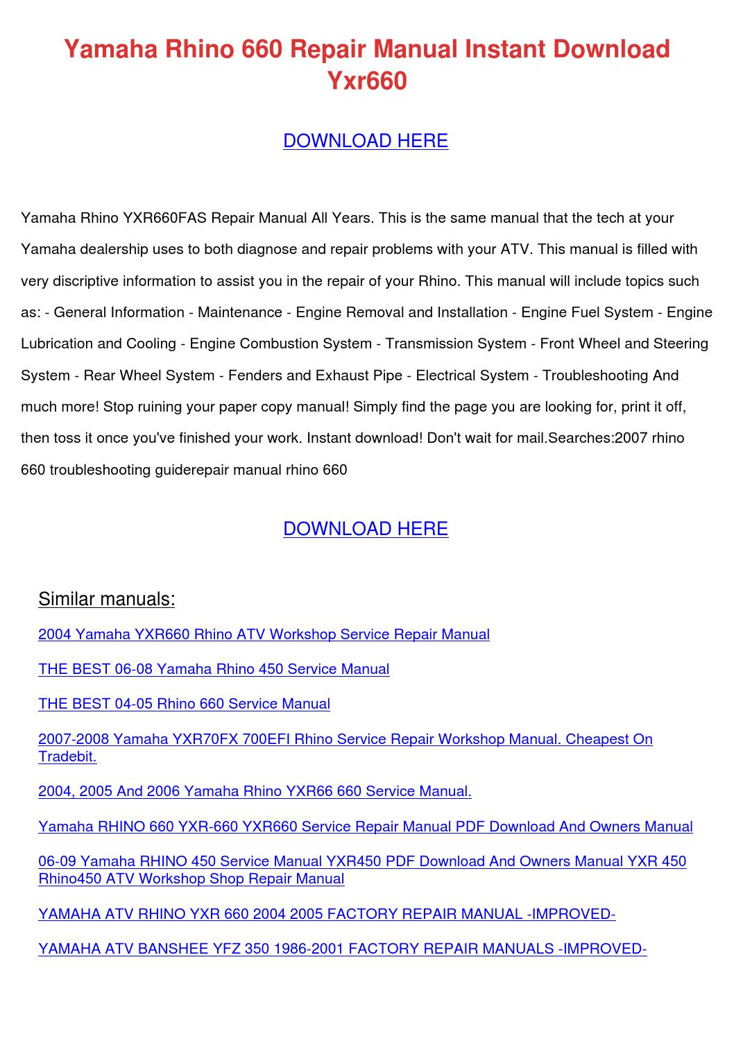 yamaha rhino 660 repair manual instant downlo by shanonsamples issuu rh issuu com yamaha rhino service manual free download yamaha rhino service manual pdf