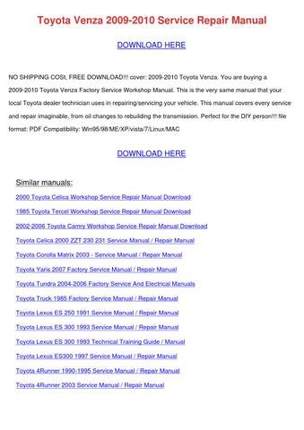 Toyota Venza 2009 2010 Service Repair Manual by HongGilmer - issuu