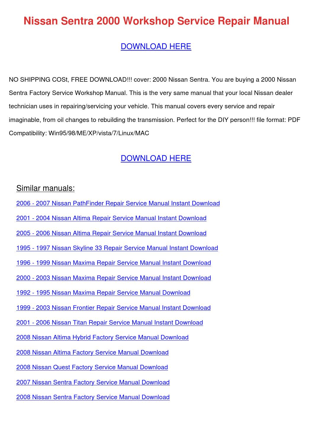 nissan sentra 2000 workshop service repair ma by honggilmer issuu rh issuu  com 1996 Nissan Maxima Problems 1997 Nissan Maxima Service Manual