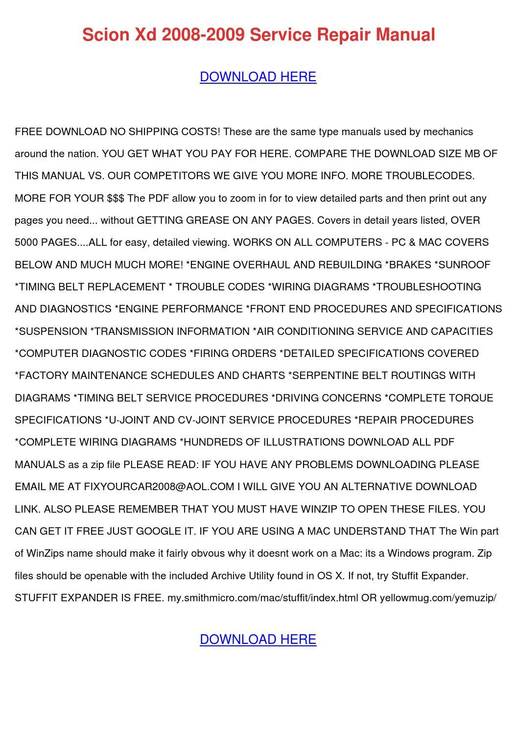Scion Xd 2008 2009 Service Repair Manual By Emmadarby