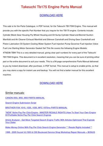Takeuchi Tb175 Engine Parts Manual by TillyStricklin - issuu
