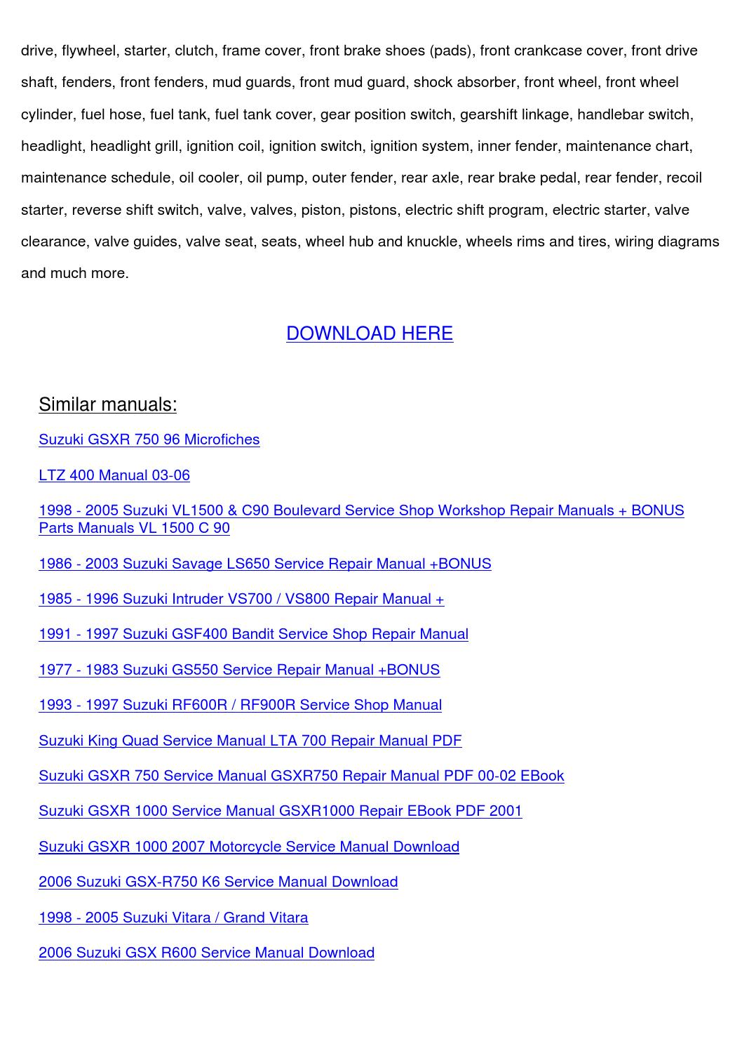 2003 Suzuki Ltz400 Service Manual By Tillystricklin