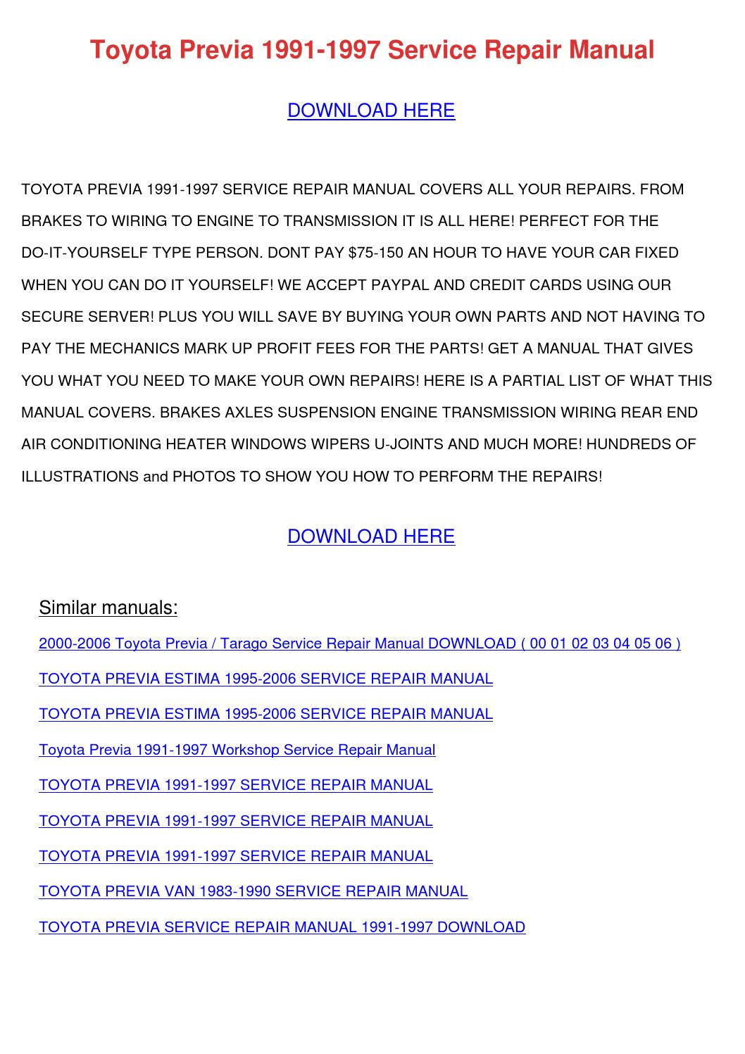 Toyota Previa Repair Manual 1991 1995 Imageresizertool Estima Wiring Diagram Download 1997 Service By Emmadarby Issuu