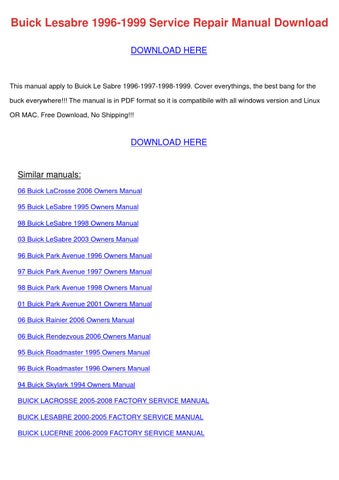 buick lesabre 1996 1999 service repair manual by emmadarby issuu rh issuu com buick rendezvous owner's manual buick rendezvous owner's manual