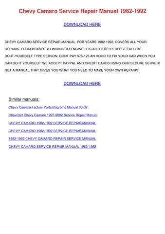 1992 Chevrolet Camaro Service Manual