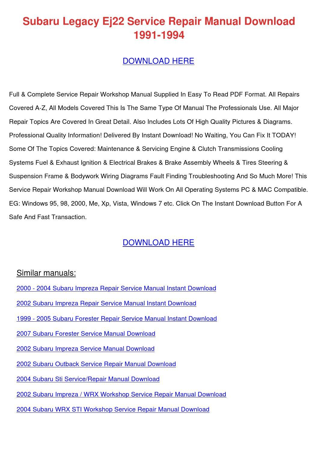 Subaru Legacy Ej22 Service Repair Manual Down by SondraShockley ...