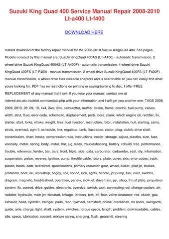 Suzuki King Quad 400 Service Manual Repair 20 by SondraShockley ...