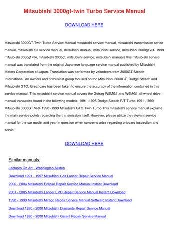 Mitsubishi 3000gt Twin Turbo Service Manual By