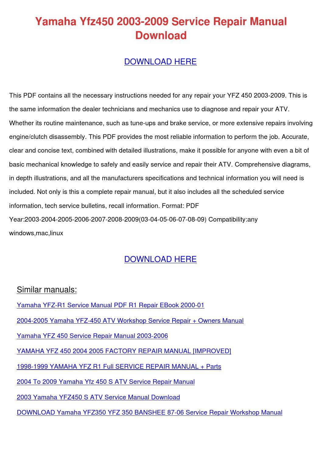 Yamaha Yfz450 2003 2009 Service Repair Manual by HarleyFreeland ...