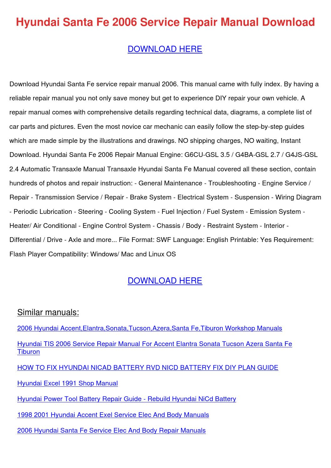 Hyundai Santa Fe 2006 Service Repair Manual D by SondraShockley ...