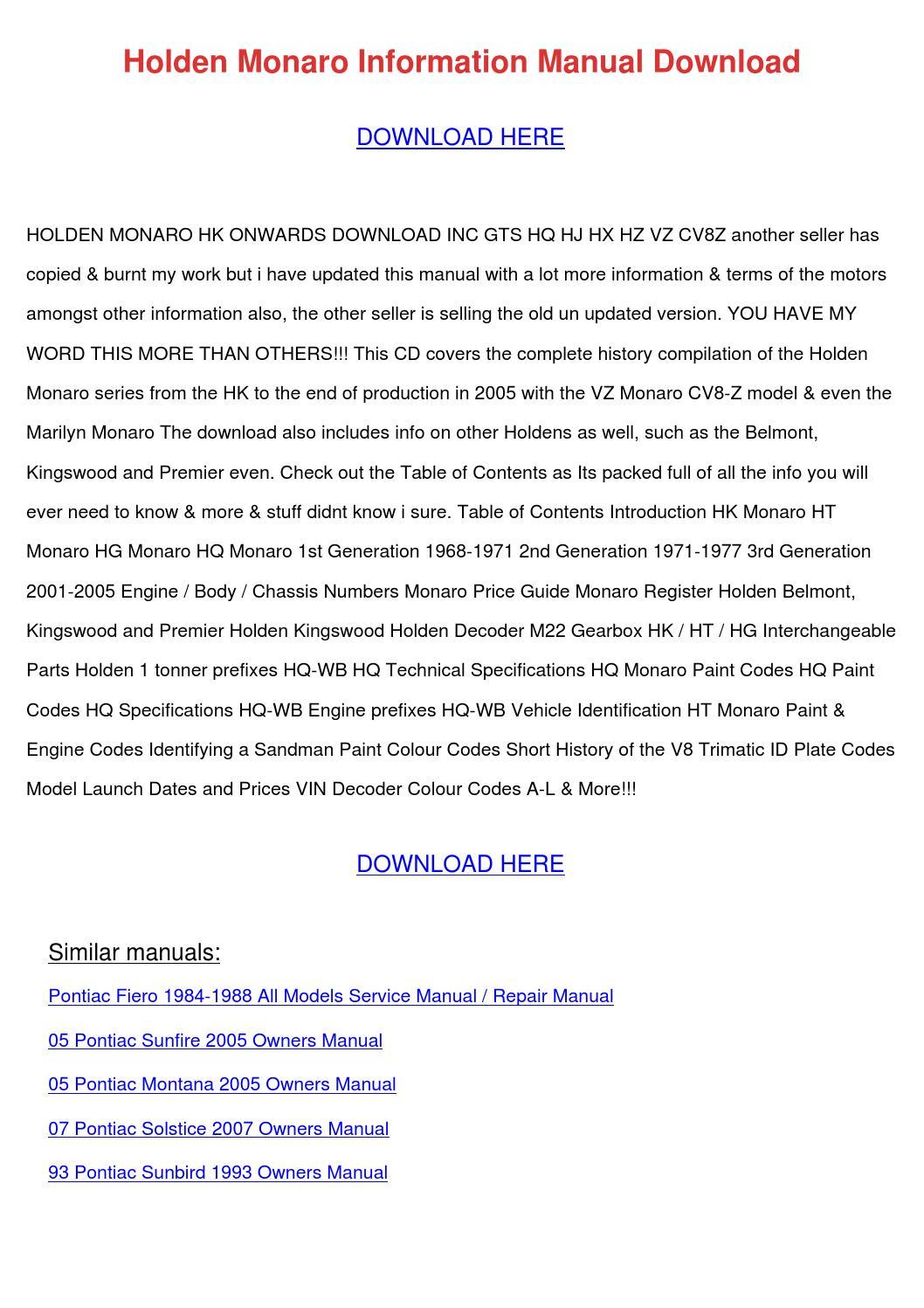 Holden Monaro Information Manual Download by HarleyFreeland - issuu