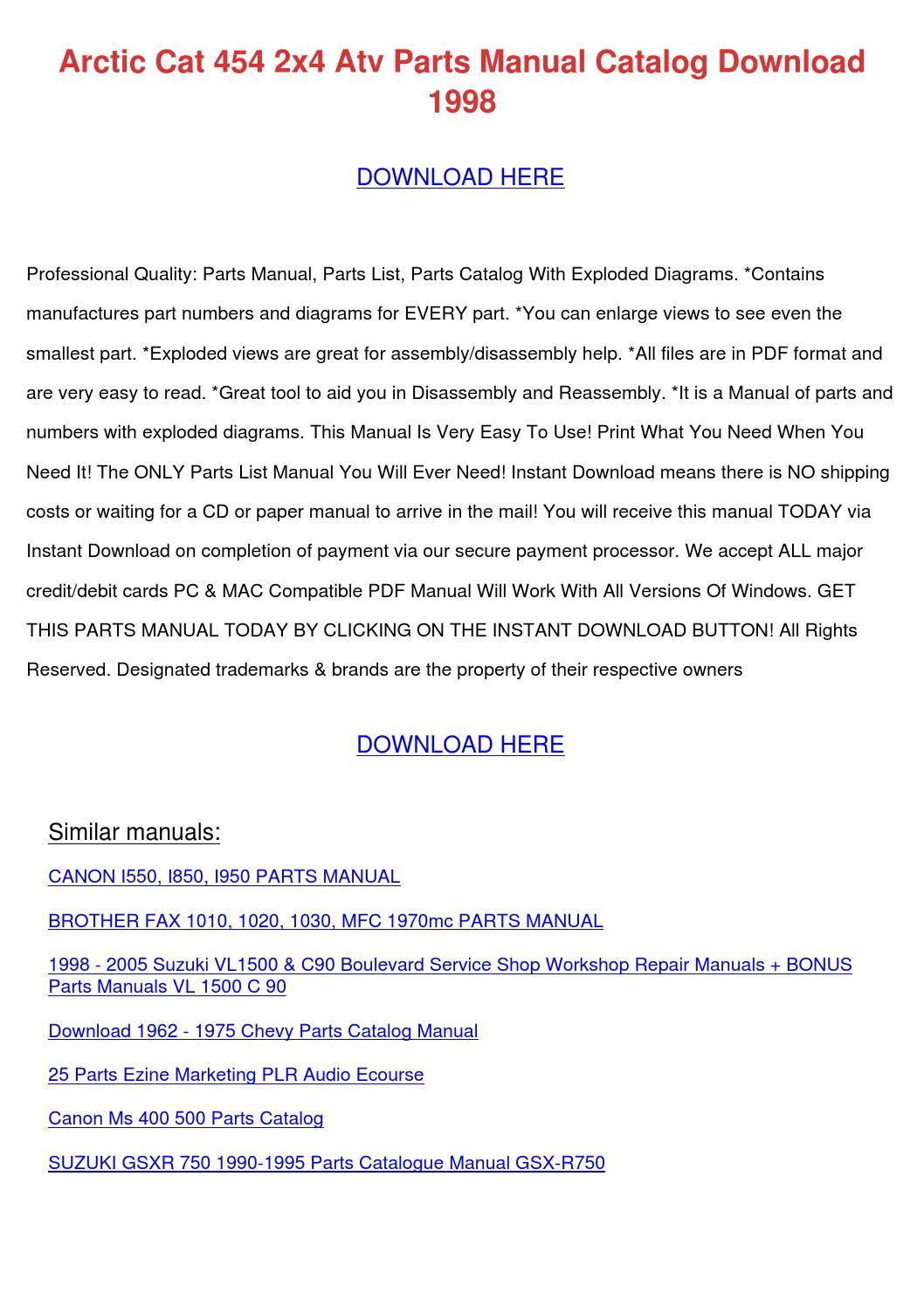 arctic cat 454 2x4 atv parts manual catalog d by harleyfreeland issuu