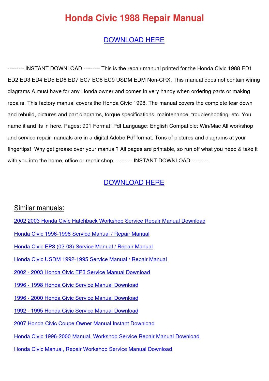 Honda Civic 1988 Repair Manual by HarleyFreeland - issuu