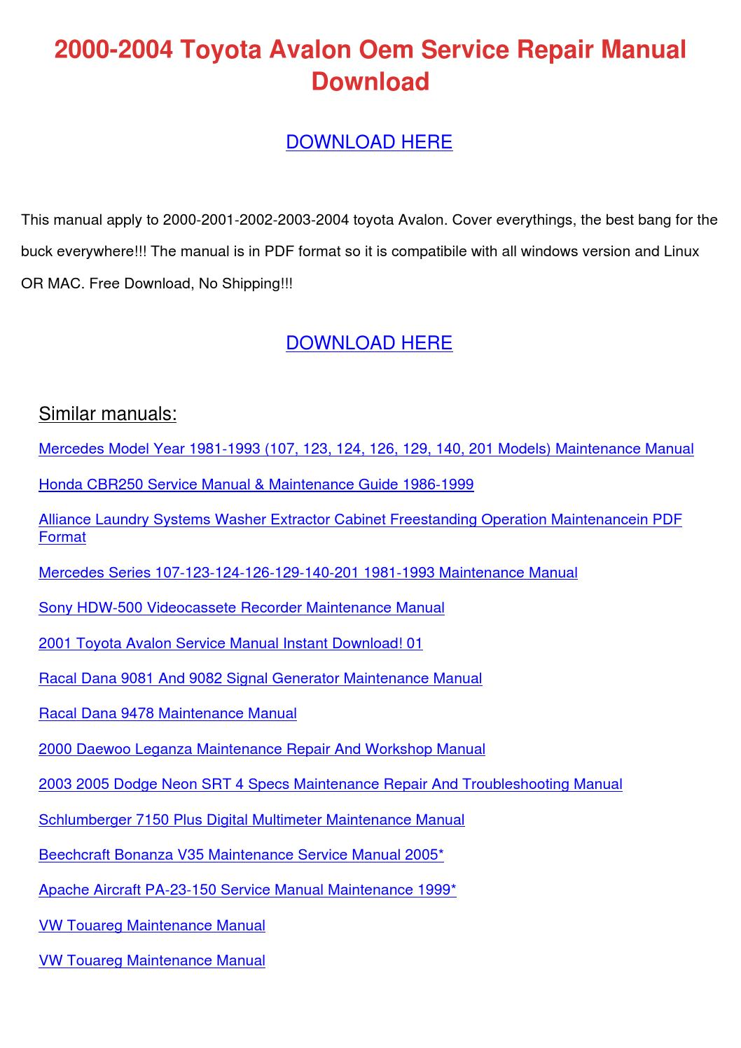 2000 Toyota Avalon Service Manual
