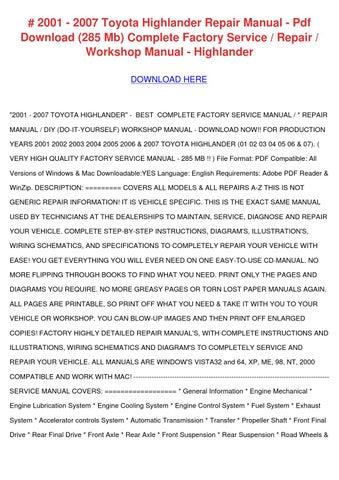 2001 2007 toyota highlander repair manual pdf by genieflaherty issuu rh issuu com Customer Service Books HP Owner Manuals