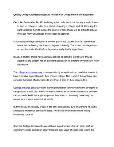 best college admission essays 2013