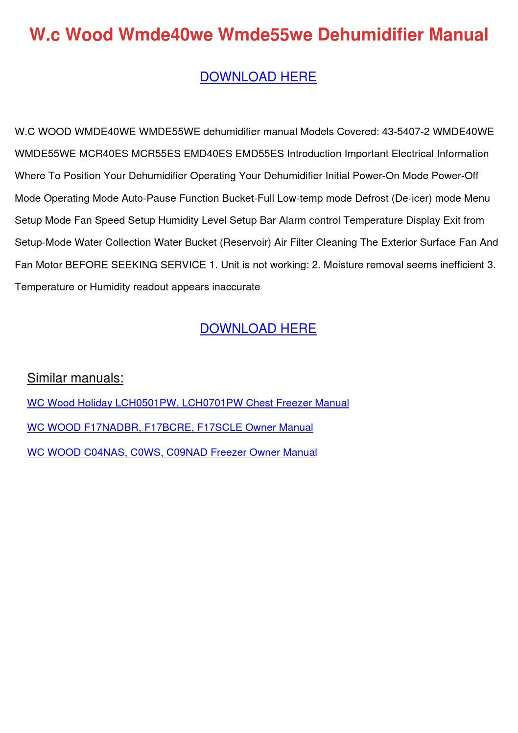 Wc Wood Wmde40we Wmde55we Dehumidifier Manual By