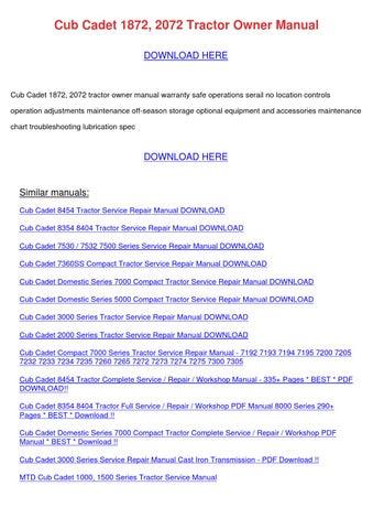 2072 Cub Cadet Repair Manual
