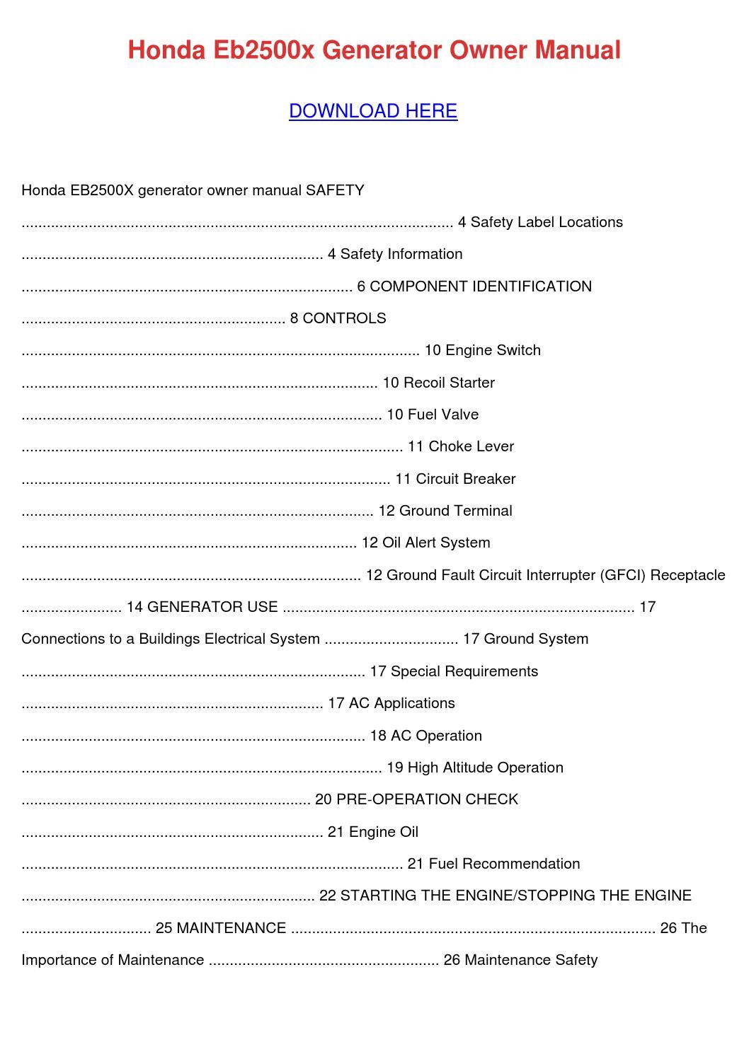Honda Eb2500x Generator Owner Manual by ArielAlford  Issuu