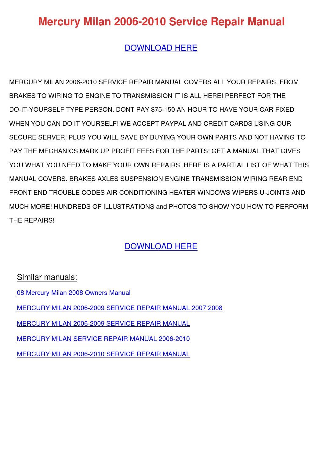 2007 Mercury Milan Hand Manual Pdf Download Engine Diagram Farebox Recovery Ratio Wikipedia