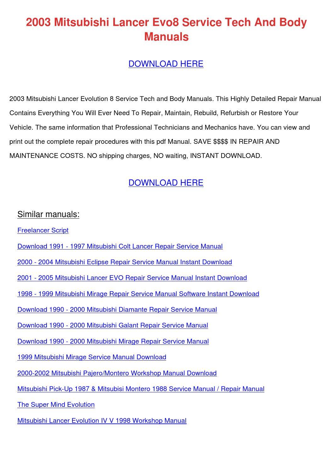2003 Mitsubishi Lancer Evo8 Service Tech And by MilfordMueller - issuu
