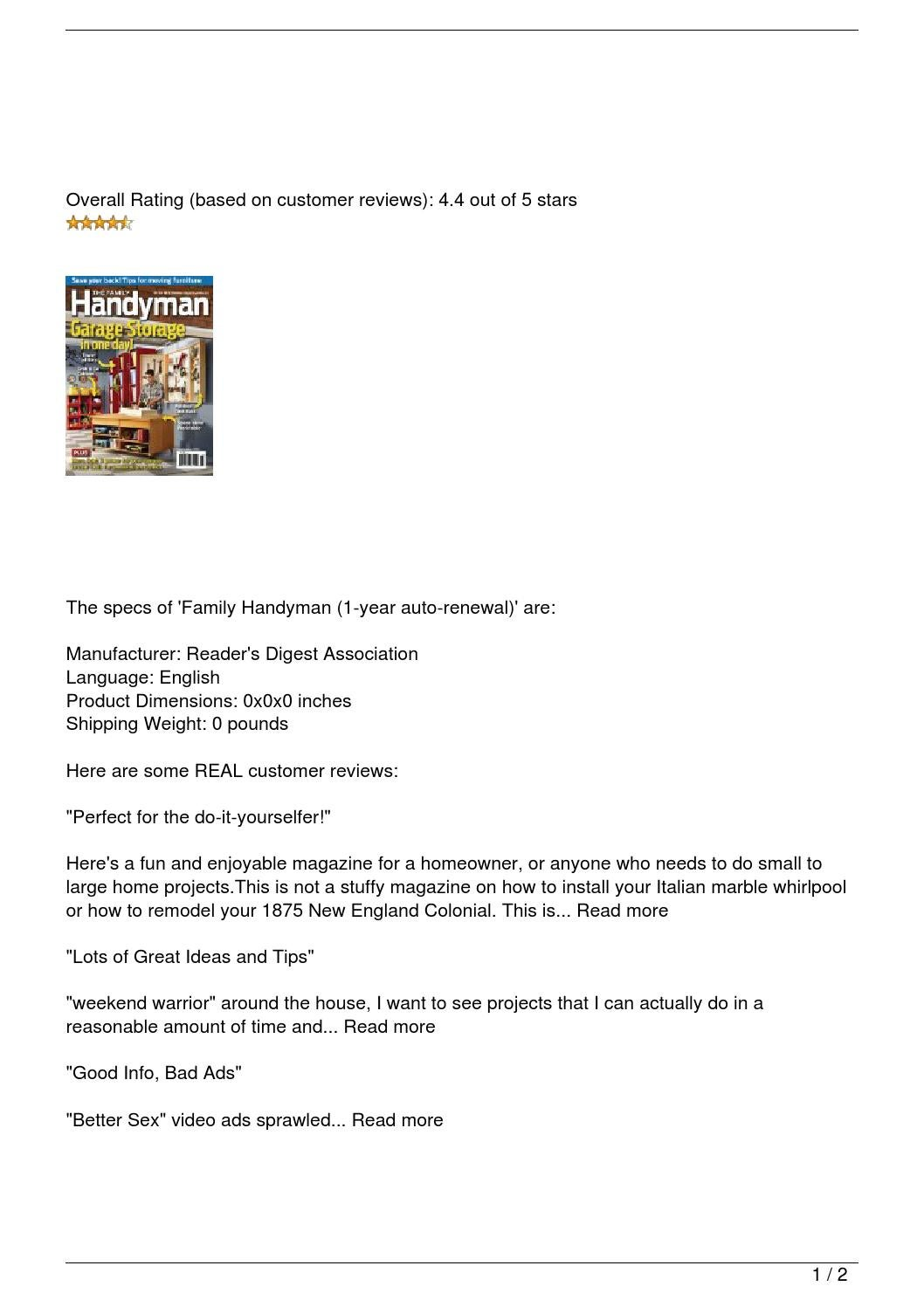 family handyman 1 year auto renewal review by brian issuu. Black Bedroom Furniture Sets. Home Design Ideas