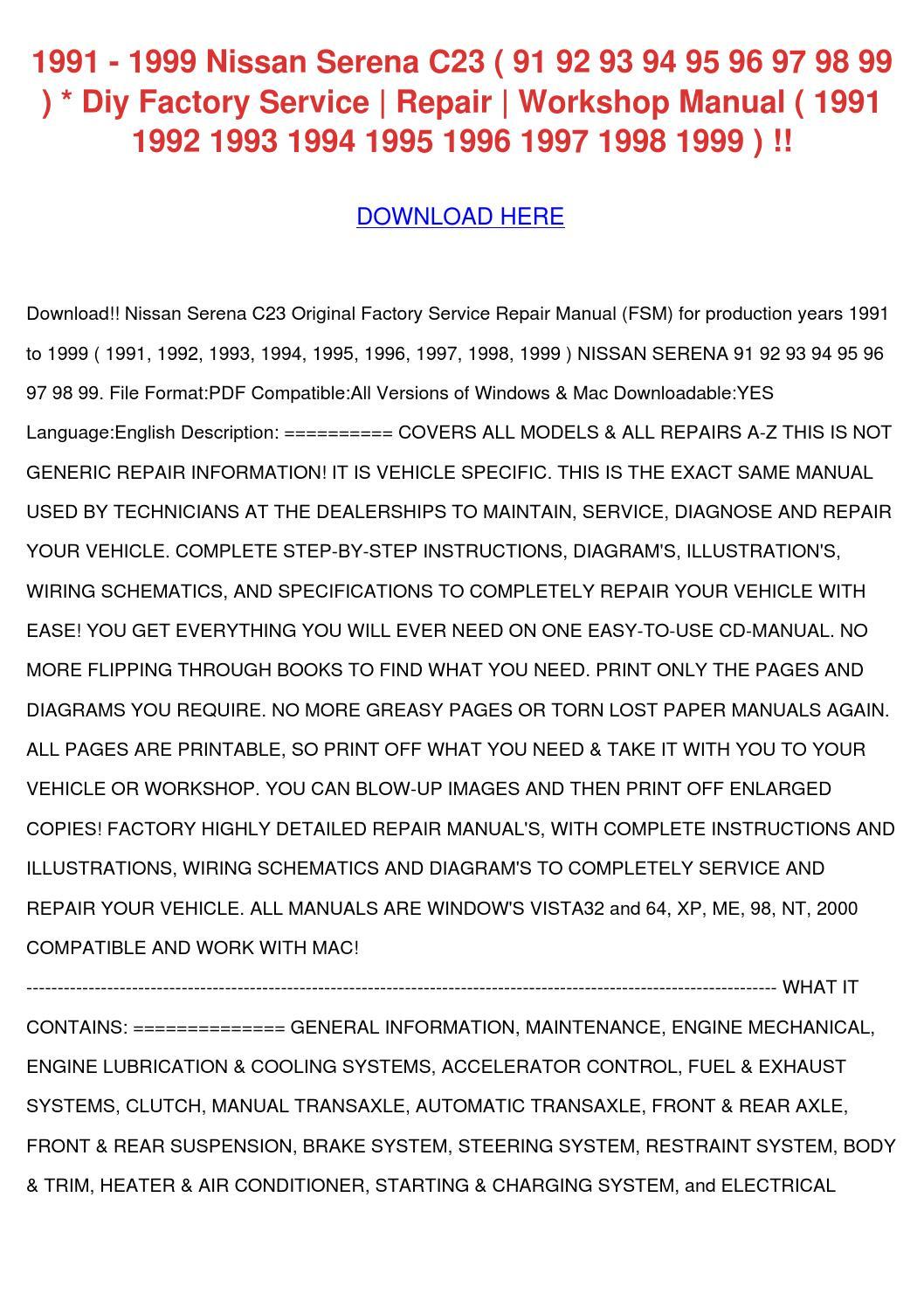 1991 1999 Nissan Serena C23 91 92 93 94 95 96 by MilfordMueller ...