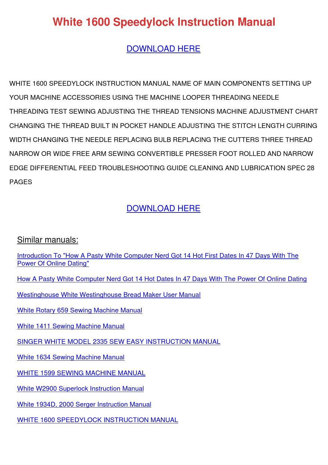 White Speedylock Serger 7340 Manual