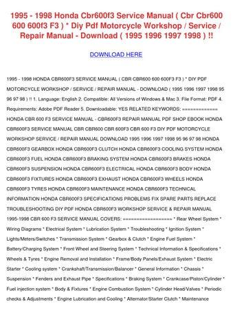 Honda cbr600 f2 & f3 motorcycle (1991-1998) service repair manual.