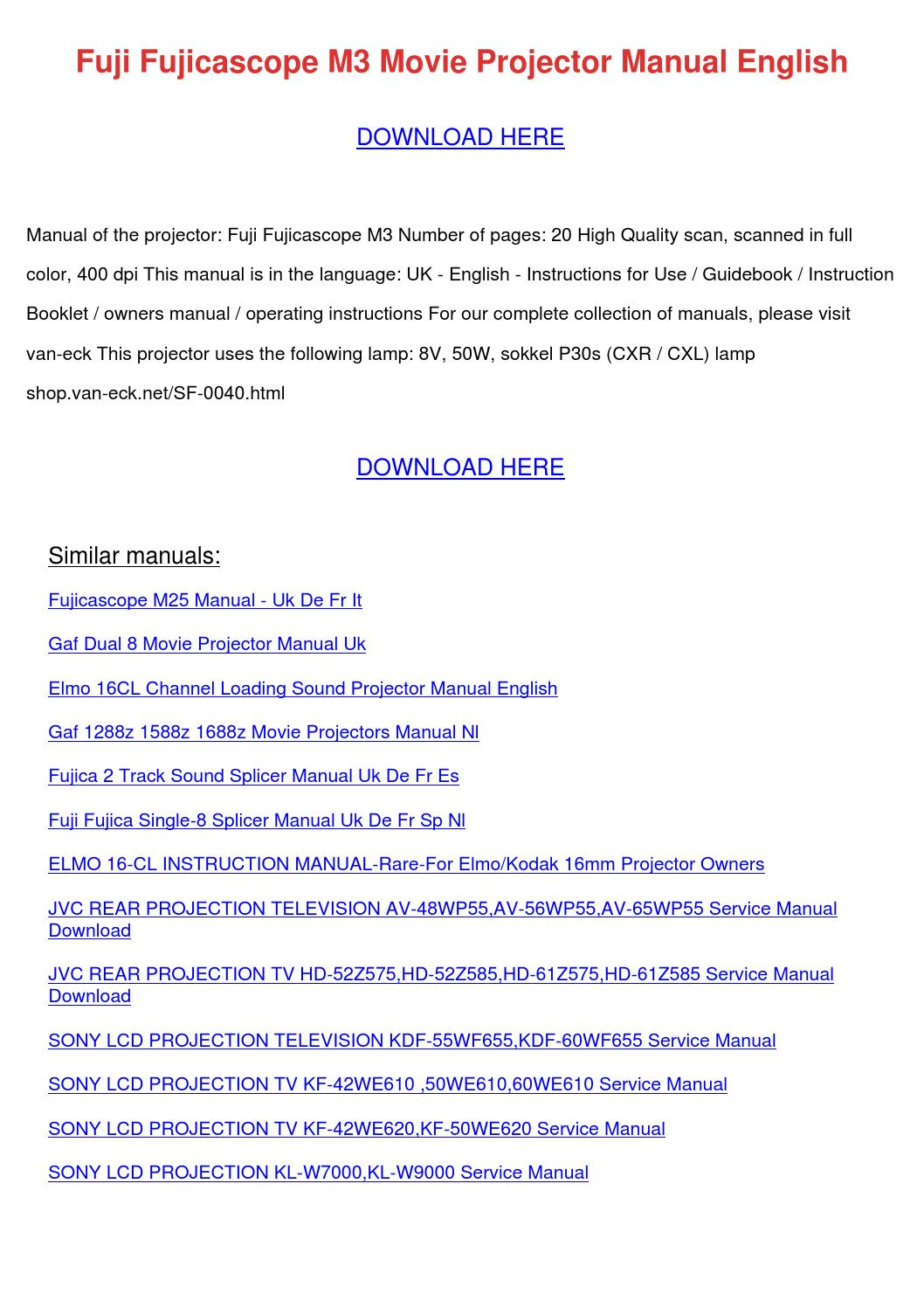 Fuji Fujicascope M3 Movie Projector Manual En by LuzHorning - issuu
